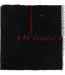 givenchy logo-embroidered fringed scarf - black