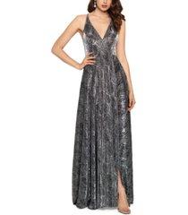 betsy & adam metallic python-print ball gown