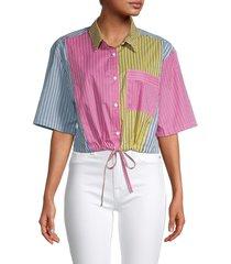 french connection women's aya striped cropped shirt - stripe multi - size l