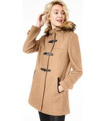 cole haan petite faux-fur-trim hooded walker coat