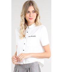"""camisa feminina """"heartbreaker"""" com bolso manga curta off white"""