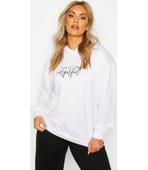 plus perfectly imperfect slogan hoodie, white