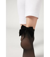 calzedonia women's sheer socks with pretty appliqué details woman black size tu