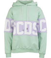 pastel green woman hoodie with logoed band