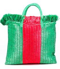 gucci cestino raffia green red web stripe tote bag red/green sz: m