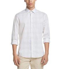 dkny men's performance stretch small plaid shirt