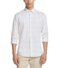 dkny men's performance stretch small plaid shirt