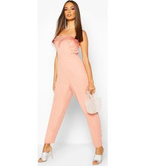feather trim bandeau jumpsuit, nude