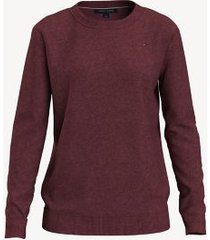 tommy hilfiger women's essential solid crewneck sweater chocolate truffle - xs
