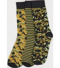 tripack calcetines largos print camuflados - hombre corona