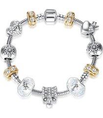 pulsera mujer dijes corazon flor cristal murano dorado 3880