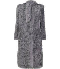 red valentino tie-neck mid-length coat - grey