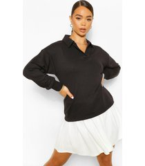 oversized rugby top, black
