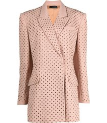 david koma double breasted studded blazer - neutrals