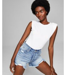 and now this women's padded shoulder muscle tee bodysuit