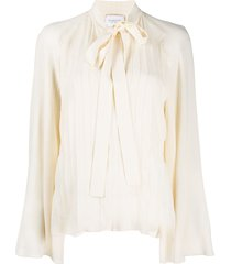 giambattista valli pussy-bow shift silk blouse - neutrals