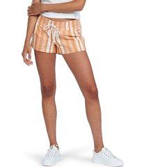 roxy oceanside drawstring shorts, size medium in golden ochre james stripe at nordstrom