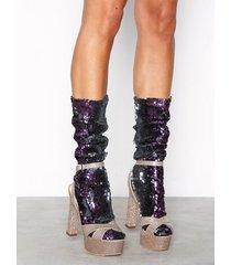 nly lingerie sequin socks strumpor lila