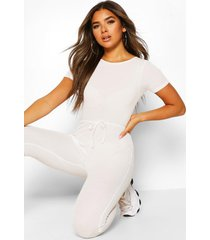 petite soft rib elastic waist jogger jumpsuit, ivory