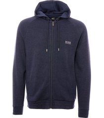 boss dark blue cashmere zip-up hooded sweatshirt 50392065-403