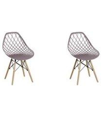 conjunto 02 cadeiras cloe base madeira camurça