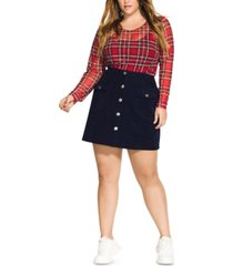 city chic trendy plus size corduroy mini skirt