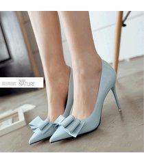 pp439 romantic pointy heels w great bowtie, patent leather,us size 4-8.5, blue
