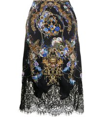 camilla lace-trimmed floral-baroque print silk skirt - black