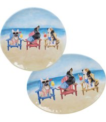 certified international hot dogs melamine 2-pc. platter set - round and oval