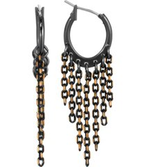 2028 women's black tone and gold tone tapered chain shower drop earrings