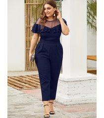 plus size dark blue mesh insert ruffle trim jumpsuit