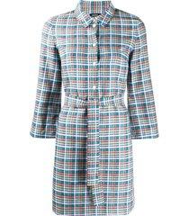 a.p.c. alie madras plaid shirt dress - blue