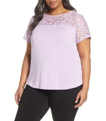 plus size women's halogen floral lace yoke top