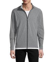 greyson men's stand collar full-zip sweatshirt - light grey - size xxl