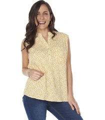 blusa sin manga cuello mao amarillo corona