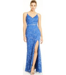 city studios juniors' glitter-lace slit gown