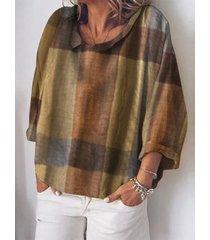 camicetta casual da donna con colletto rovesciato manica lunga stampa scozzese