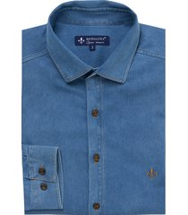 camisa dudalina manga longa lisa essentials jeans masculina (jeans claro, 7)