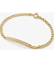mk bracciale con placca in pavé e maglie a catena in argento sterling placcato in metallo prezioso - oro (oro) - michael kors