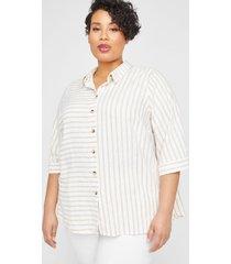 mixed stripe linen blend buttonfront tunic