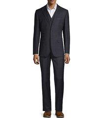 3-piece modern-fit check suit