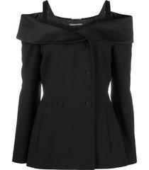 alberta ferretti off shoulder fitted jacket - black