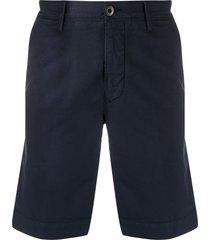incotex front logo patch multi-pocket shorts - blue
