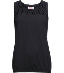 top in cotone con pizzo traforato (nero) - john baner jeanswear