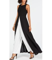 adrianna papell colorblocked overlay jumpsuit
