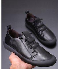 los hombres de moda de moda casual de cuero zapatos lisos zapatillas cómodas