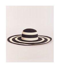 chapéu de palha feminino emi beachwear listrado preto