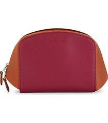 loro piana women's poker colorblock leather pouch - coral