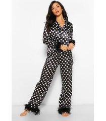 premium satijnen pyjama met veren afwerking, model polka, zwart