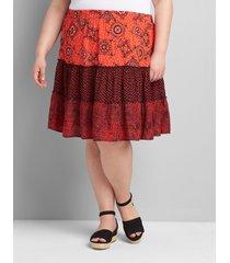 lane bryant women's tiered patchwork short skirt 18/20 red patchwork